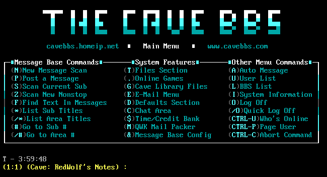 """The Cave"" BBS main menu."