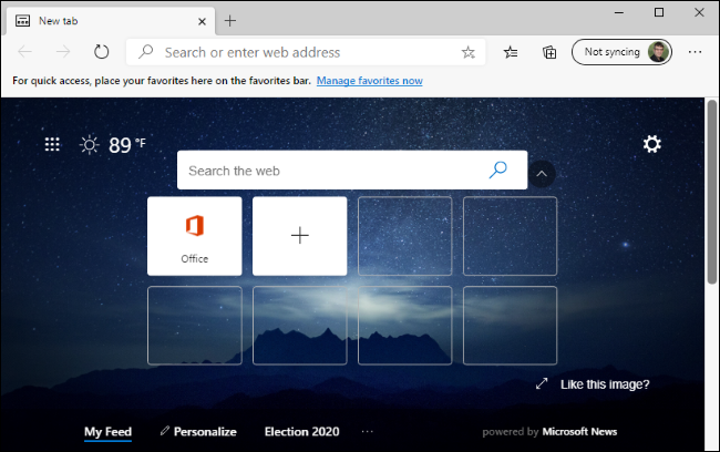 The New Tab page in the new Microsoft Edge browser.
