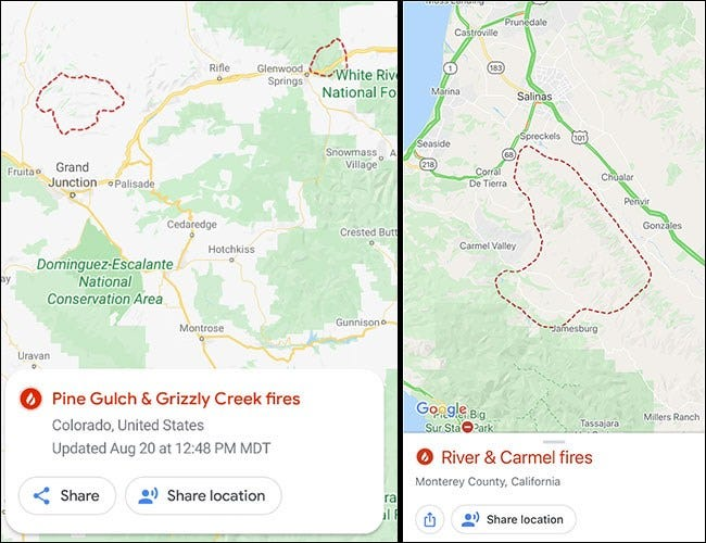 Google Maps with fire spots on Android and iPhone