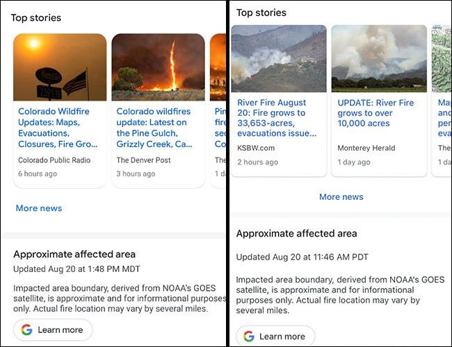 Google Maps with stories pertaining to the fires