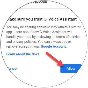 """Tap """"Allow"""" to trust G-Voice Assistant."""