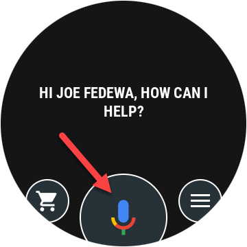 Tap the microphone icon to talk to Google Assistant.