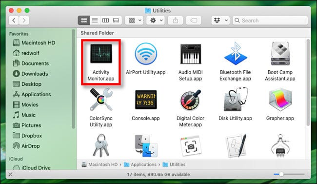 Locating Activity Monitor in Finder on a Mac.