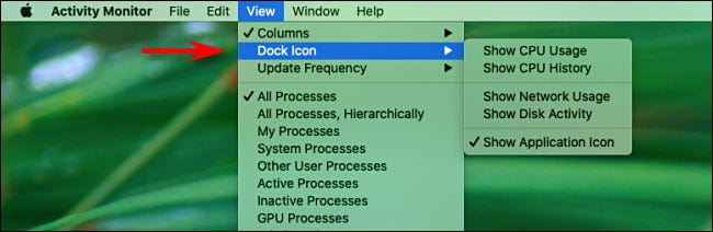 Mac Activity Monitor View Menu