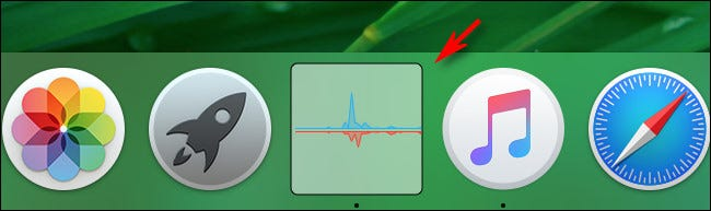 Displays the Activity Monitor network usage dock diagram in package mode