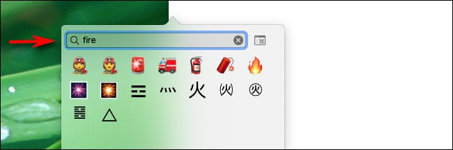 Type a word in the search box to search for emoji on Mac.