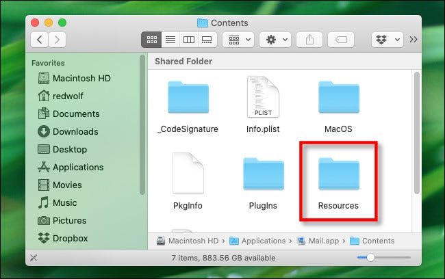 "Within the Mac application package, open the ""Resources"" folder."