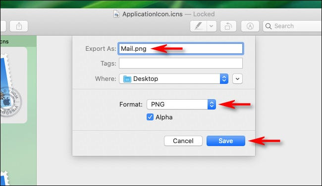 In the Export dialog in Preview on Mac, enter a name, destination, and file type.