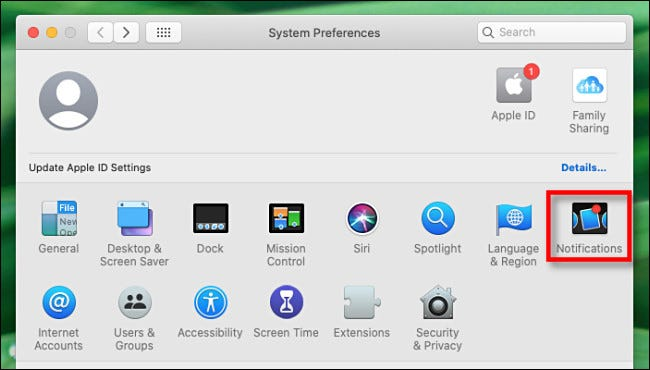 "In System Preferences on Mac, Select ""Notifications."""