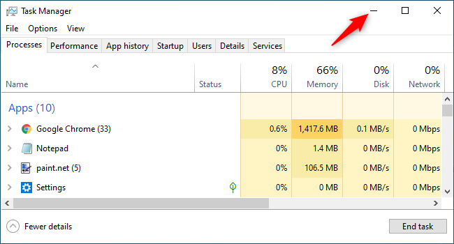Minimize Task Manager and hide it from the Windows 10 taskbar.