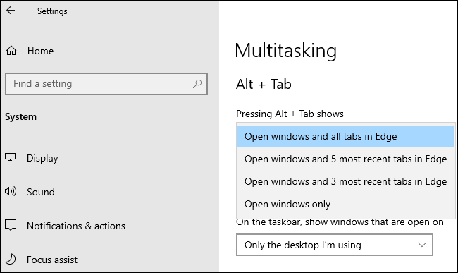 "Edge Alt+Tab options under Settings > System > Multitasking."" width=""650″ height=""387″></p> <p><a href="