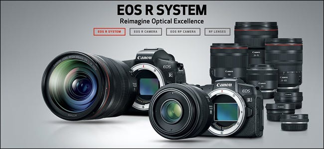 An advertisement for the mirrorless cameras of the Canon EOS R system.