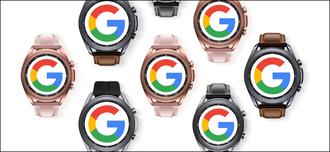 Seven Samsung Galaxy smartwatches with the Google logo on their face.
