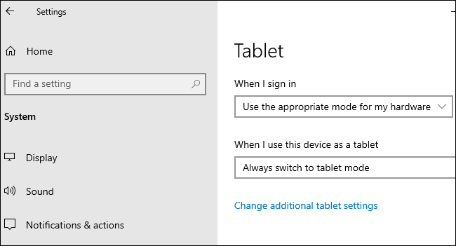 "Tablet options under Settings > System > Tablet on Windows 10."" width=""650″ height=""351″></p> <p>When you detached a keyboard on a 2-in-1 device, a notification popped up and asked you if you wanted to enable tablet mode. Now, Windows will automatically switch to the new tablet experience added in <a href="