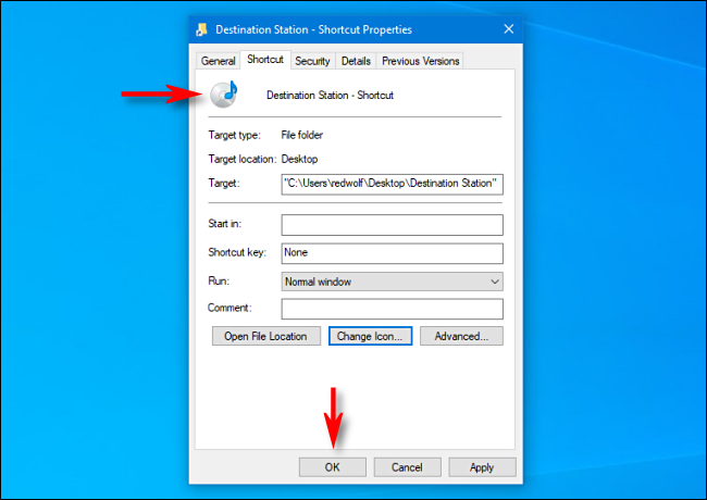 In Windows 10, you notice that the shortcut icon has changed.  Then click