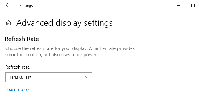Refresh Rate options in Windows 10 Settings