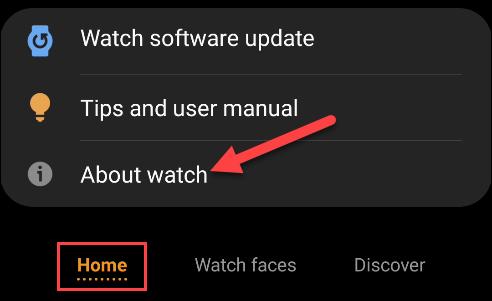 galaxy wearable app tap about watch