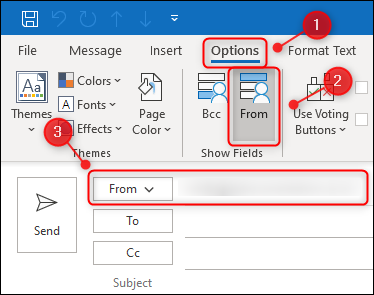 """The """"Options"""" tab showing the """"From"""" button."""