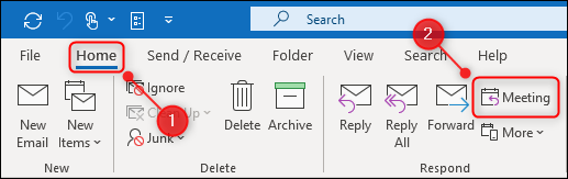 """The """"Home"""" tab of the ribbon with the """"Meeting"""" button highlighted."""