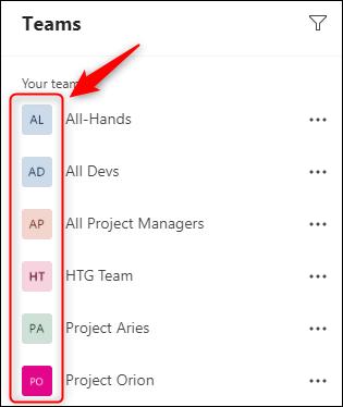 A list of teams in Microsoft Teams.