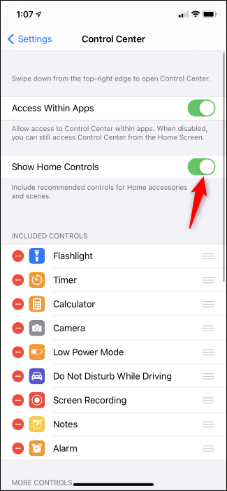 Toggling Home Controls in the iPhone Control Center.