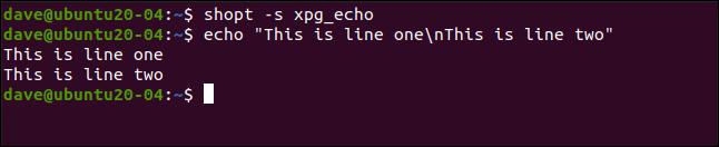 shopt -s xpg_echo en una ventana de terminal.