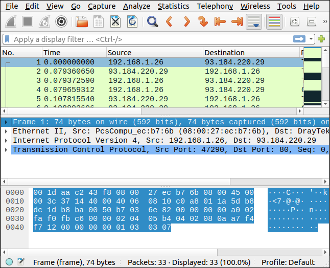 Packets selected from Brim displayed in Wireshark.