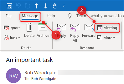 """The """"Message"""" tab of the ribbon with the """"Meeting"""" button highlighted."""