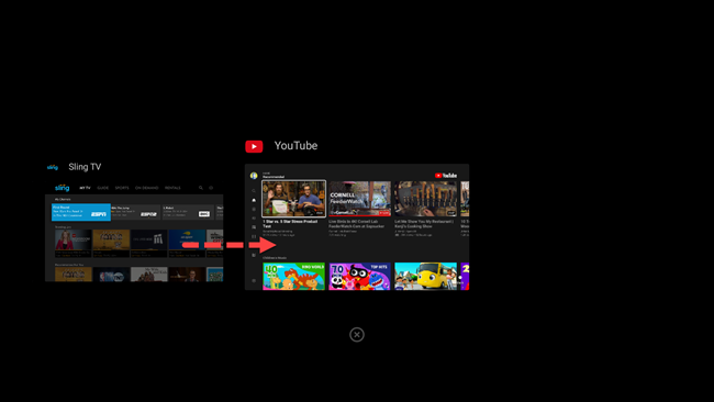 android tv select app from recent apps