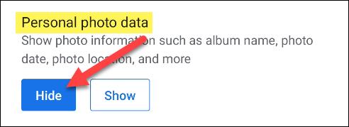 hide personal photo data