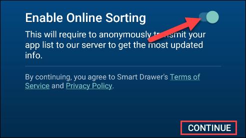 enable online sorting