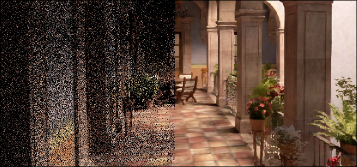 noisy image smoothed out with NVIDIA denoiser