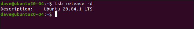 lsb_release -d in a terminal window.