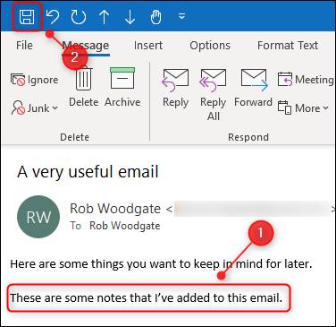 """O corpo editado de um e-mail e o botão """"Salvar""""."""