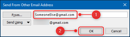 """The """"Send From Other Email Address"""" panel."""
