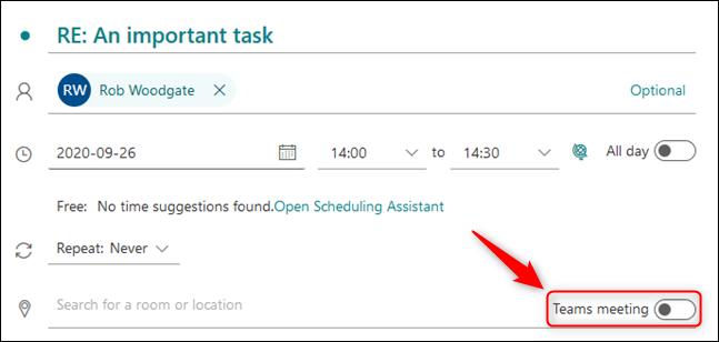 """O botão """"Reunião de equipes"""" na solicitação de reunião."""