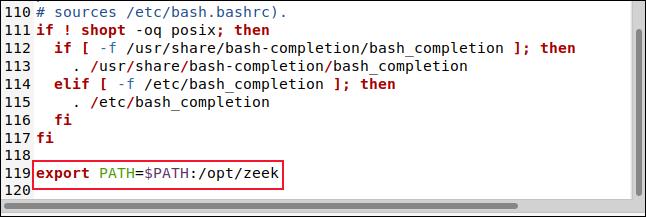 El archivo BASHRC en el editor gedit con la línea export PATH = $ PATH: / opt / zeek.
