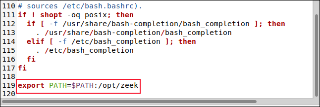 The BASHRC file in the gedit editor with the line export PATH=$PATH:/opt/zeek.