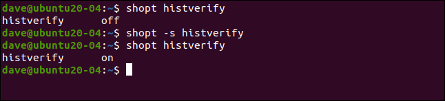 shopt histverify in a terminal window.