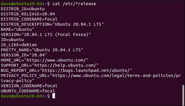 cat /etc/*release in a terminal window.