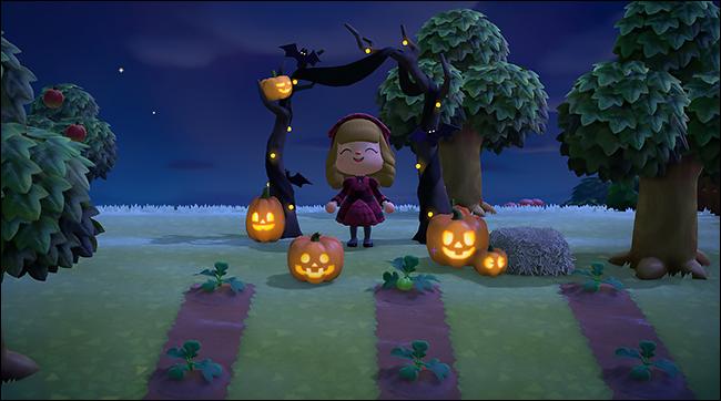 ACNH pumpkin spooky arch4