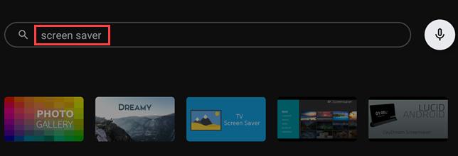 """Digite """"Screen Saver"""" na caixa de pesquisa da Google Play Store."""