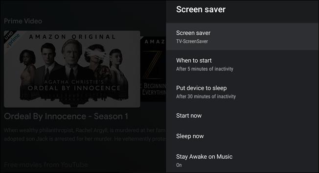 "The ""Screen Saver"" settings menu."