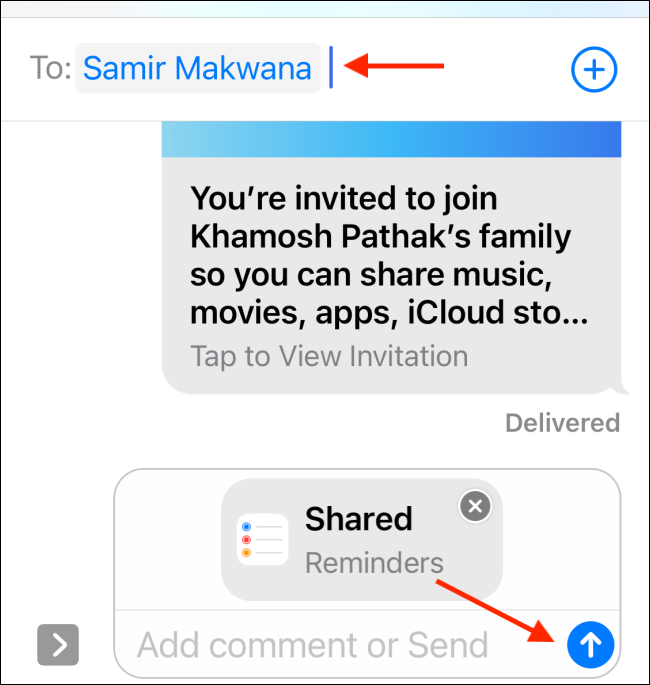 Add a contact, and then tap the Send button.