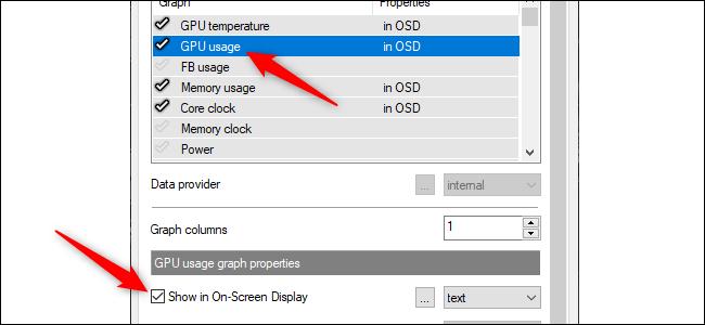 """Bấm vào thông tin bạn muốn xuất hiện trên màn hình, sau đó chọn """"Hiển thị trong màn hình trên màn hình"""" hộp kiểm."""