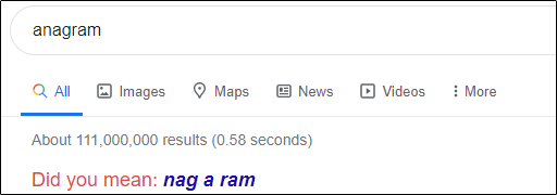 """anagram"" in the Google search box."