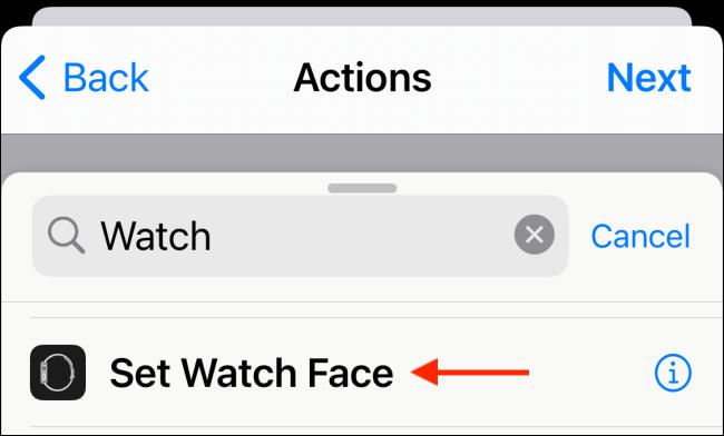 Choose Set Watch Face Action