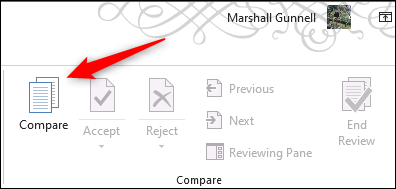 Compare option in Microsoft PowerPoint