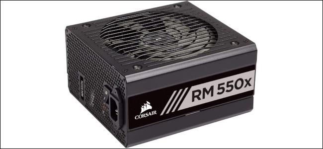 A black Corsair power supply.