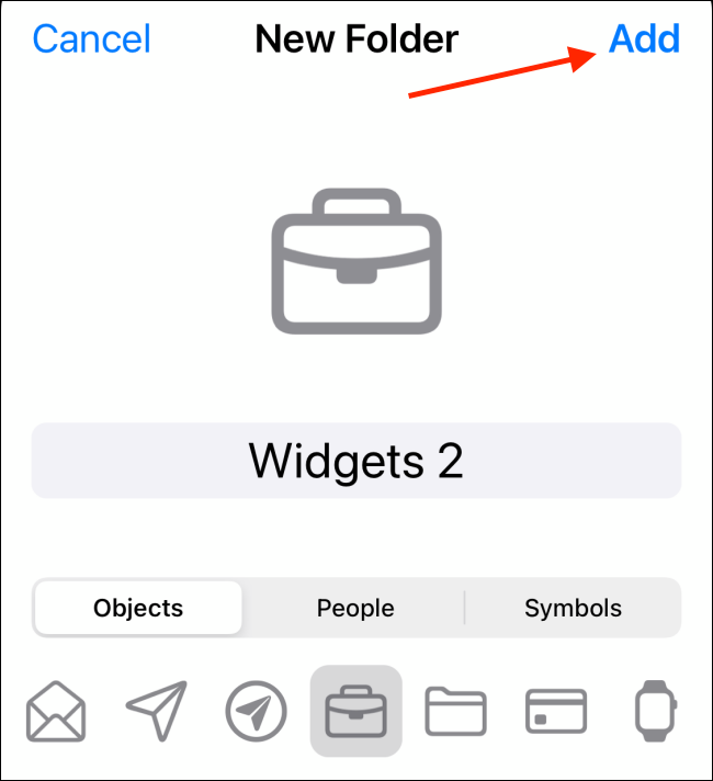Customize folder and tap on Add